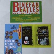 Música de colección: LOTE 3 FLYERS PUBLICIDAD BINEFAR BEATLES WEEKEND. Lote 167124260