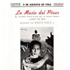 Música de colección: BAILADORA GITANA CARMEN AMAYA, 10 PROGRAMAS,ACTUACION AÑO 1963,LLORET DE MAR,COSTA BRAVA,AÑO MUERTE. Lote 167457240