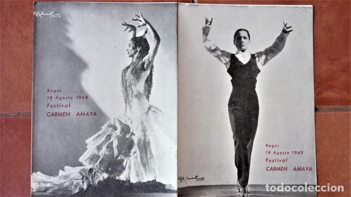 PROGRAMA FESTIVAL BAILADORA GITANA CARMEN AMAYA 1963 - FUE SU ULTIMO BAILE - BEGUR 1963 - FLAMENCO (Música - Varios)