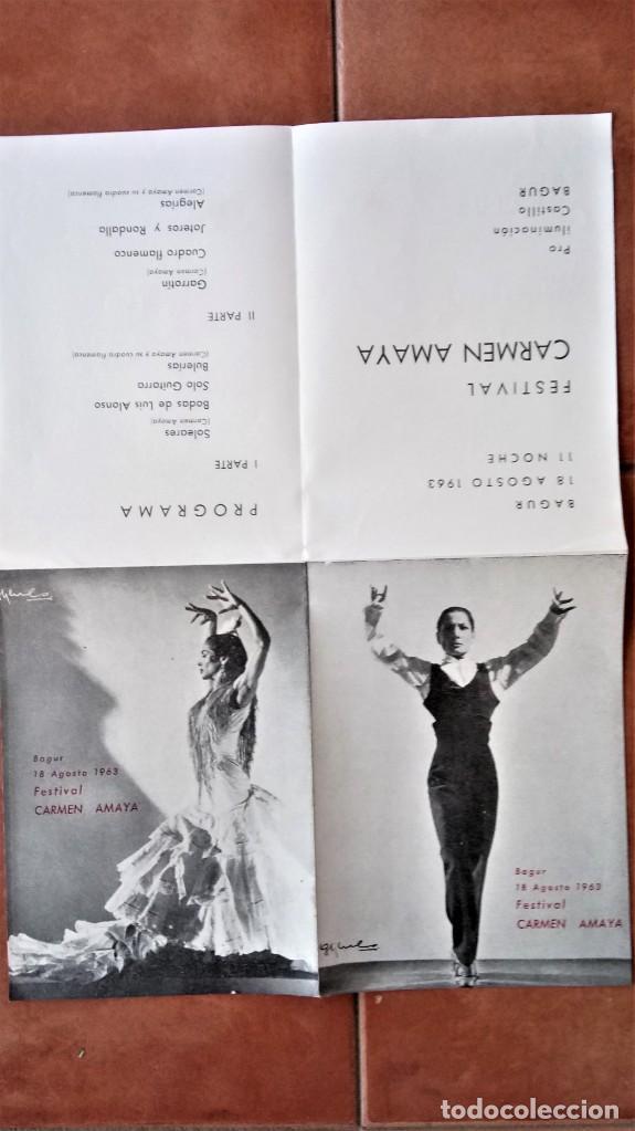 Música de colección: PROGRAMA FESTIVAL BAILADORA GITANA CARMEN AMAYA 1963 - FUE SU ULTIMO BAILE - BEGUR 1963 - FLAMENCO - Foto 2 - 167486520