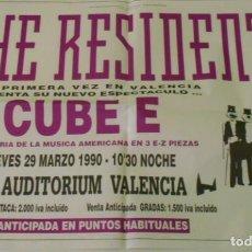 Música de colección: THE RESIDENTS CARTEL POSTER CONCIERTO ORIGINAL ARENA VALENCIA 1990 ORIGINAL CONCERT POSTER SPAIN. Lote 169929288
