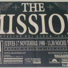 Música de colección: THE MISSION CARTEL POSTER CONCIERTO PROMO ORIGINAL 1988 ARENA AUDITORIUM VALENCIA SPAIN. Lote 169992108