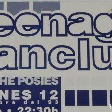 Musica di collezione: TEENAGE FANCLUB THE POSIES CARTEL POSTER CONCIERTO PROMO ORIGINAL GARAGE VALENCIA SPAIN 1993. Lote 218206380