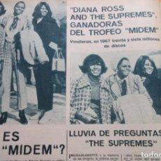 Musique de collection: ARTICULO 1968 - DIANA ROSS Y THE SUPREMES GANADORAS MIDEM - 2 PAGINAS. Lote 171489780