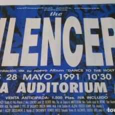 Música de colección: THE SILENCERS CARTEL POSTER CONCIERTO ORIGINAL ARENA AUDITORIUM VALENCIA SPAIN 1991. Lote 172395642