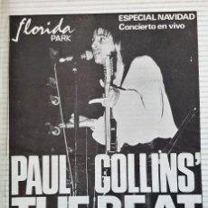 Música de colección: FOLLETO CONCIERTO PAUL COLLINS - MADRID AÑO 1979. Lote 172470223