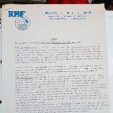 Música de colección: CARTA DE DISCOGRÁFICA PARA LA RADIO. PROMOCIÓN NUEVO TEMA AÑO 1984. Lote 172879685
