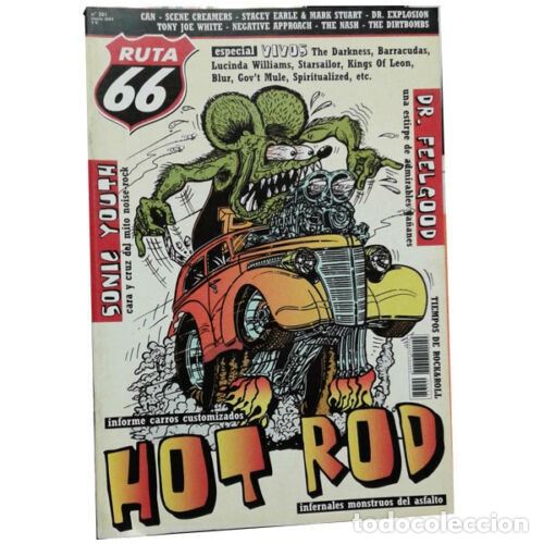 REVISTA RUTA 66 #201 (ENERO 2004) . HOT ROD SONIC YOUTH DR. FEELGOOD CAN NASH (Música - Varios)