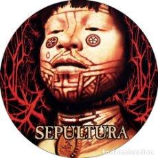 Música de colección: CHAPA/BADGE SEPULTURA . PIN BUTTON METALLICA MOTORHEAD SLAYER AMEBIX CLUTCH. Lote 174042484