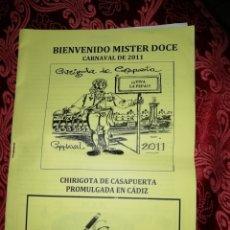 Música de colección: CARNAVAL DE CADIZ LIBRETO BIENVENIDO MISTER DOCE 2011. Lote 178008294