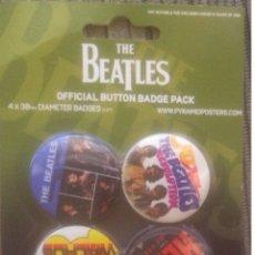 Música de colección: THE BEATLES OFFICIAL BUTTON BADGE PACK - PRYRAMID POSTERS 2008 NUEVO, PRECINTADO. Lote 178051438