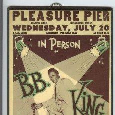 Música de colección: B B KING CARTEL ORIGINAL DE CONCIERTO 1953 TEXAS 18 X 28 CM PLASTIFICADO EN BONITO MARCO. Lote 178764462