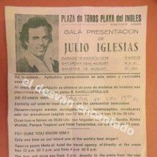 Música de colección: JULIO IGLESIAS. FOLLETO GALA PRESENTACIÓN PLAZA TOROS PLAYA DEL INGLES. LAS PALMAS. AGOSTO 1978. Lote 180005438