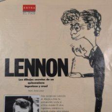 Música de colección: LENNON - LOS DIBUJOS SECRETOS - RECORTE DEL EXTRA DE EL PAIS N° 2 DE 3 DE MARZO DE 1991. Lote 182217142