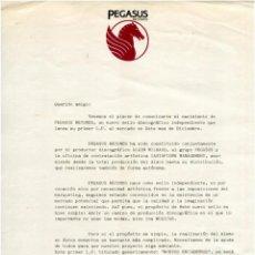 Musica di collezione: PEGASUS (KITFLUS, SUNYER, ESCOTÉ, ARISA) - CARTA DE PRESENTACIÓN PRENSA COMO SELLO DISCOGRÁFICO 1982. Lote 183965120