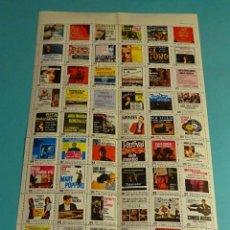 Música de colección: HOJA CON 54 VIÑETAS DIFERENTES. PORTADA / CUBIERTA DE DISCOS. Lote 184208222