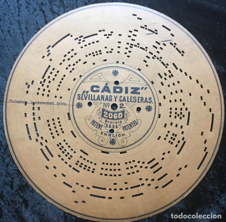 CÁDIZ SEVILLANAS Y CALESERAS Nº2. Nº 2060. DISCO DE CARTON PERFORADO PARA ARISTON. S. XIX. EHRLICHS (Música - Varios)