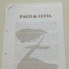 Música de colección: PACO DE LUCIA ZYRYAB // HOJAS PROMOCIONALES DE PRENSA 1990 PROCEDEN DE ARCHIVO POLYGRAM IBERICA. Lote 194782127
