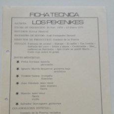 Música de colección: LOS PEKENIKES // FICHA TECNICA GRABACION ESTUDIOS KIRIOS 25 NOV. 1974 -ENE. 1975 // MOVIEPLAY PROG. Lote 194782393