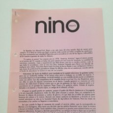 Música de colección: NINO BRAVO // HOJAS PROMOCIONALES PROCEDENTES DE ARCHIVO POLYDOR POLYGRAM IBERICA. Lote 194783038