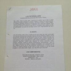 Música de colección: LOS PETERSELLERS // HOJAS PROMOCIONALES DE PRENSA CONTRATACION MMCD MUSIC FACTORY 1997. Lote 194783381