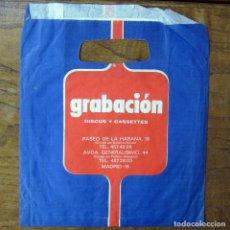 Música de colección: BOLSA DE PAPEL PARA SINGLES DE LA TIENDA GRABACIÓN - MADRID - MÚSICA, DISCOS, PUBLICIDAD. Lote 194940830