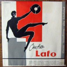 Música de colección: BOLSA DE PAPEL PARA SINGLES DE LA TIENDA CINE FOTO LAFO - MADRID - CON TARJETA OBSEQUIO - PUBLICIDAD. Lote 194941046