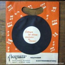 Música de colección: BOLSA DE PAPEL PARA SINGLES DE LA TIENDA FEYMAR - MADRID - CON TICKET DE COMPRA, 1965 - LAVIS. Lote 194941461