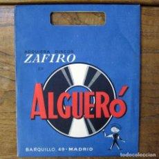 Música de colección: BOLSA DE PAPEL PARA SINGLES DE LA TIENDA ALGUERÓ - MADRID - CON HOJA PUBLICIDAD - ZAFIRO. Lote 194942546