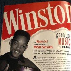 Música de colección: PUBLICIDAD DE WINSTON, CON WILL SMITH Y MIB. ORIGINAL 1997. TAMAÑO FOLIO. ENMARCABLE.. Lote 195106378