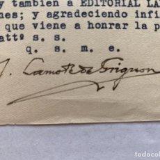 Música de colección: JOAN LAMOTE DE GRIGNON - CARTA CON MEMBRETE Y FIRMA MANUSCRITA. Lote 197958256