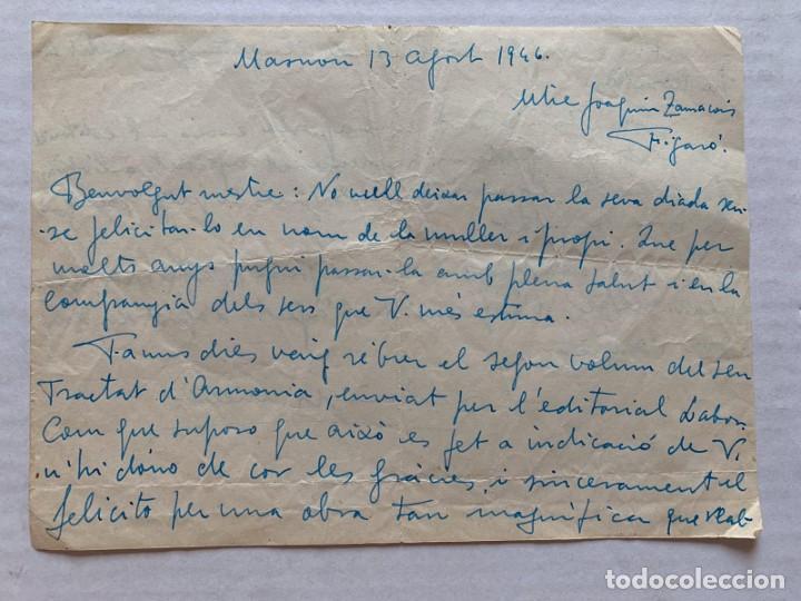 Música de colección: LLUIS MARIA MILLET - CARTA MANUSCRITA A DOBLE CARA A JOAQUIN ZAMACOIS FIRMADA - Foto 2 - 197958470