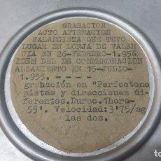 Música de colección: CINTA MAGNETOFONICA CON DOS ACTOS COMMEMORACION ALZAMIENTO NACIONAL VALENCIA EN 1956 Y OTRO. Lote 202544201