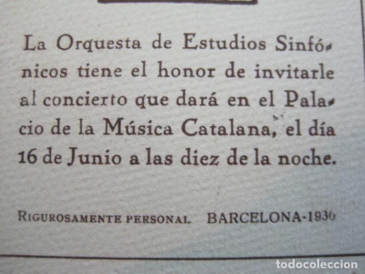 Música de colección: BARCELONA-ORQUESTRA DE ESTUDIS SINFONICS-INVITACION PALAU DE LA MUSICA-AÑO 1930-VER FOTOS-(69.906) - Foto 4 - 204086265