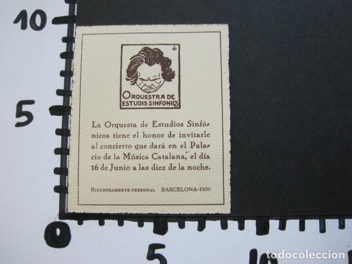 Música de colección: BARCELONA-ORQUESTRA DE ESTUDIS SINFONICS-INVITACION PALAU DE LA MUSICA-AÑO 1930-VER FOTOS-(69.906) - Foto 5 - 204086265