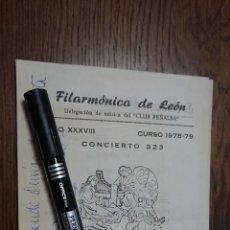 Música de colección: FIRMADO- DIPTICO FILARMONICA DE LEON CONCIERTO DE EZIO MARIANI DE AMICIS VIOLINISTA -1979. Lote 204479318