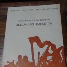 Música de colección: FIRMADO- DIPTICO CONCIERTO DE BANDONEON ALEJANDRO BARLETTA -1975. Lote 204484442