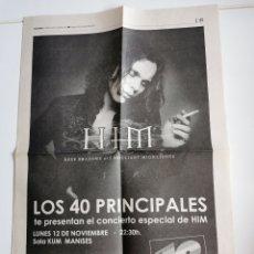 Música de colección: HOJA PERIÓDICO PROMOCION HIM CONCIERTO GRATUITO 40 PRINCIPALES VALENCIA 2001. Lote 208454798