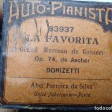 Música de colección: DISCO ANTIGUO DE PIANOLA LA FAVORITA GRAND MORCEAU DE CONCERT OP 74 DE ASCHER POR DONIZETTI LA FAVOR. Lote 209776138
