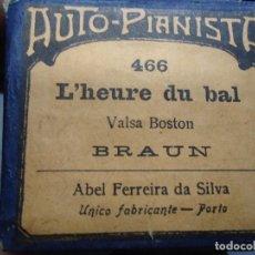 Música de colección: DISCO ANTIGUO DE PIANOLA L´HEURE DU BAL VALSA BOSTON POR BRAUN VALS. Lote 209776990