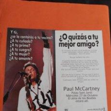 Musique de collection: BEATLES FLYER CONCIERTO DE PAUL MCCARTNEY EN BARCELONA 1993. Lote 209817840