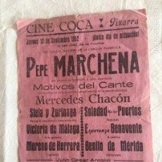 Música de colección: CARTEL MED. FORMATO. CANTE FLAMENCO. PEPE MARCHENA. MOTIVOS DEL CANTE. CINE COCA. PIZARRA, 1952.. Lote 210773286