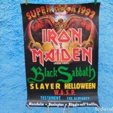 Música de colección: POSTER DE SUPER ROCK 1992 IRON MAIDEN BLACK SABBATH SLAYER HELLOWEEN TESTAMENT WASP. Lote 210828470