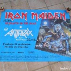 Música de colección: CARTEL DE IRON MAIDEN CONCIERTO NO PRAYER ON THE ROAD BARCELONA 1990 ANTHRAX. Lote 210841587