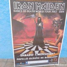 Música de colección: CARTEL DE IRON MAIDEN CONCIERTO DANCE OF DEATH WORLD TOUR BADALONA 2003 2004. Lote 210842396