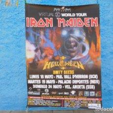 Música de colección: CARTEL DE IRON MAIDEN CONCIERTOS EN ESPAÑA VIRTUAL XI WORLD TOUR 1998 HELLOWEEN DIRTY DEEDS. Lote 210844681