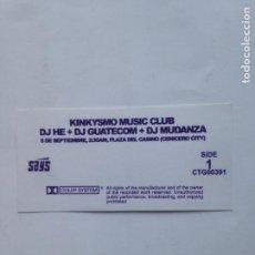 Música de colección: PEGATINA FLYER- KINKYSMO MUSIC CLUB-DJ HE -DJ GUATECON-DJ MUDANZA-CENICERO CITY-STICKER 4,5X9CMS. Lote 212491025