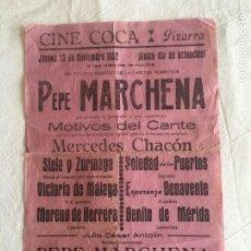 Música de colección: CARTEL MED. FORMATO. CANTE FLAMENCO. PEPE MARCHENA. MOTIVOS DEL CANTE. CINE COCA. PIZARRA, 1952.. Lote 213855953