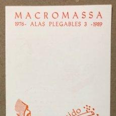 """Música de colección: MACROMASSA """"ALAS PLEGABLES 3"""" (1976-1989). PROGRAMA EXPOSICIÓN TRANSFORMADORS (BARCELONA) 1989.. Lote 216483351"""