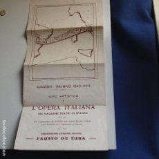 Música de colección: GIRO ARTISTICO DE L'OPERA ITALIANA EN MEJORES TEATROS DE ESPAÑA - MAYO JUNIO 1940 - FAUSTO DE TURA. Lote 217090007
